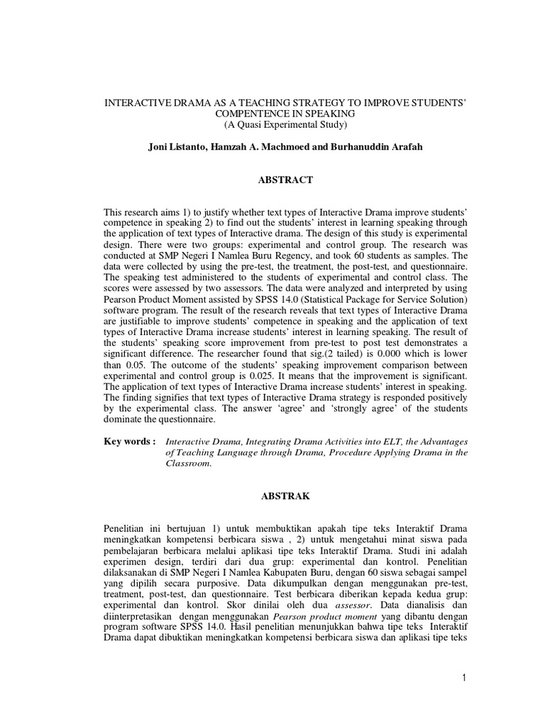 Jurnal About Speaking Student S T Test Experiment