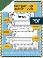 Kindergarten Number Book Number Three Day Booklet