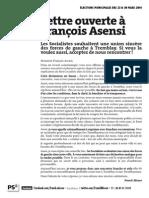 Lettre ouverte à François Asensi
