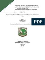 Implementasi Pembinaan Anak Pidana Berdasarkan Pasal 20 Undang