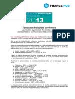 Résultats annuels du Marché Publicitaire Français 2013
