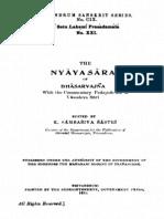 TSS-109 Nyayasara of Bhasarvajna - KS Sastri 1931