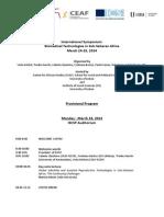 Provisional Program International Symposium on Biomedical Technologies in Sub-Saharan Africa Lisbon