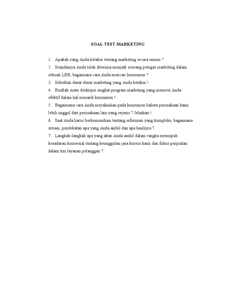 Soal Test Untuk Calon Karyawan Marketing Sales Marketing Strategy