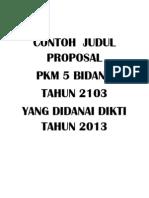 Contoh Judul Pkm