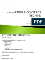 Bec 402 - Estimating & Contract