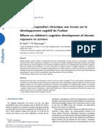 Effets de l'exposition chronique aux écrans sur le développement cognitif de l'enfant