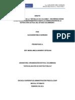 Ensayo Estructura del Estado Colombiano. Especialización ESAP