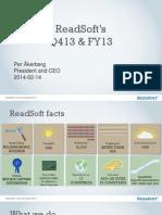 Readsoft Ir Presentation Year End 2013