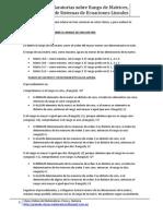 Notas aclaratorias sobre Rango de Matrices, Soluciones de Sistemas de Ecuaciones Lineales