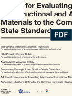 Toolkit for Evaluating the Alignment of Instructional and Assessment Materials to the Common Core State Standards