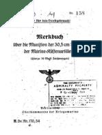 """""""M.Dv.170/54"""" Merkbuch über die Munition der 30,5 cm SKL/50 der Marine-Küstenartillerie"""