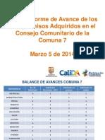 Informe de Seguimiento Consejo Comunitario C7 -Marzo 2014
