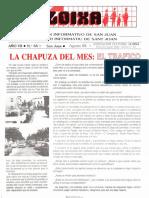 LLOIXA. Número 66 agosto/agost, 1988. Butlletí Informatiu de Sant Joan. Boletín informativo de Sant Joan.  Autor