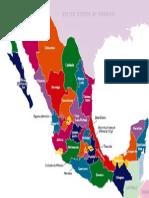 Mapa Mexico Estados en Colores