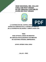 LA CONTRIBUCIÓN DEL CONTROL INTERNO EN EL SISTEMA DE COBRANZAS DE LA CARTERA DE CRÉDITOS COOPERATIVA HOSNI