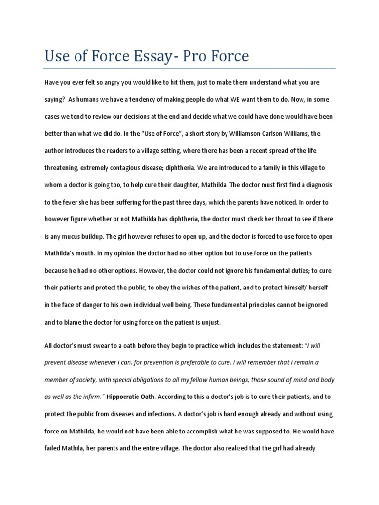 use of force short story essay