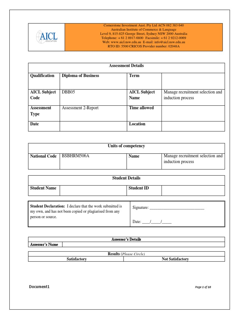 assessment task 2 3 recruitment educational assessment