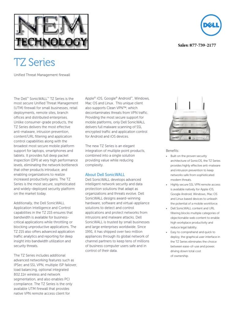 SonicWALL TZ Series Datasheet NEM Technology | Virtual