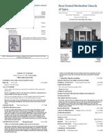 Spiro First United Methodist Church Worship Bulletin for October 18, 2009