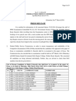 Karachi Centre Hall-12 Re-Examination Press Release 03-03-2014