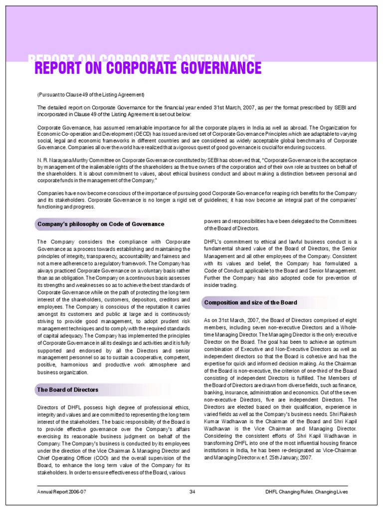 Report On Coprorate Governance 06 07 Corporate Governance Board