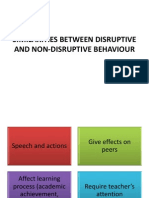 Similarities Between Disruptive and Non-disruptive Behaviour