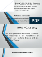 PISFA-PortCalls Public Forum Presentation on BIR RMO 10-2014
