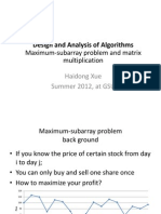 Maximum-Subarray Problem, Matrix Multiplication and Strassen's Algorithm