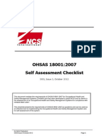 OHSAS 18001 Self Assessment Checklist