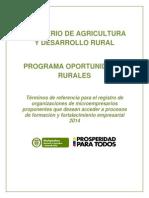 Convocatoria Oportunidades Rurales 2014 Registro Proponentes