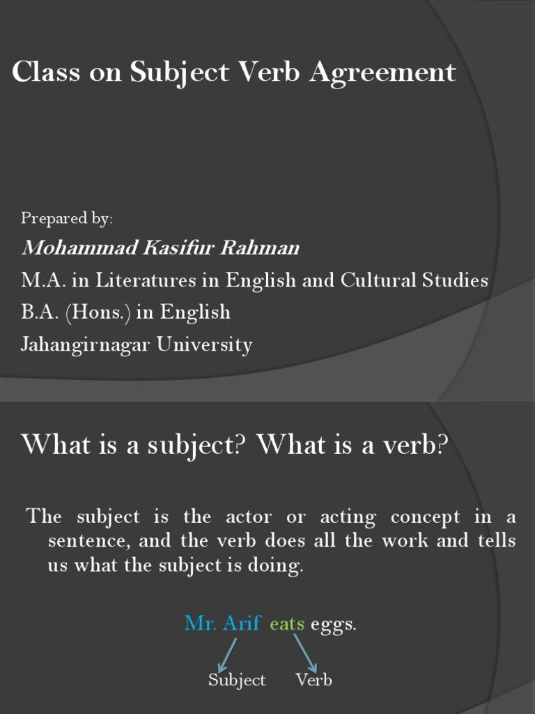 Kasifsubject Verb Agreement Kkbgv Grammatical Number Plural