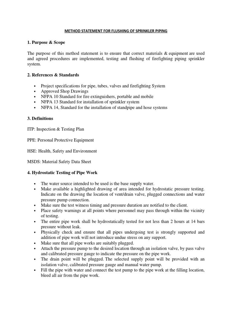 Method Statement for Flushing of Sprinkler Piping | Fire Sprinkler
