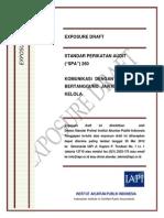 Exposure Draft Spa 260 - Komunikasi Dengan Pihak Yang Bertanggung Jawab Atas Tata Kelola