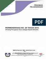 Pedoman Pelaksanaan Permendiknas No.28 Tahun 2010(Revisi) 1 Nov