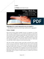 Wed., 12 March 2014, The Bible is a God's Speaking Place (Part-1)