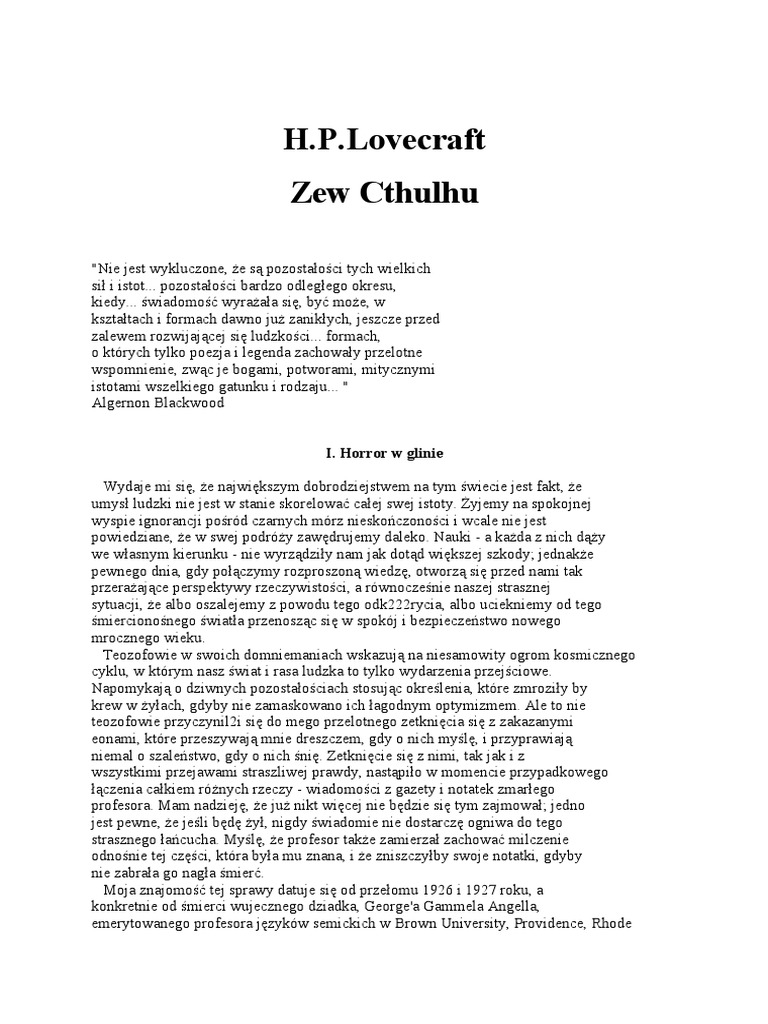 Howard Phillips Lovecraft Zew Cthulhupdf