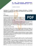 Inaplicabilidad Del Salvataje Empresario. Apuntes Al Fallo Correo Argentino s.a. 1