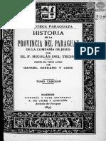 HISTORIA DE LA PROVINCIA DEL PARAGUAY DE LA COMPAÑIA DE JESUS POR NICOLAS DEL TECHO - TOMO TERCERO - 1897 - PORTALGUARANI
