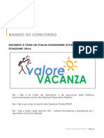 Bando Valore Vacanza 2014