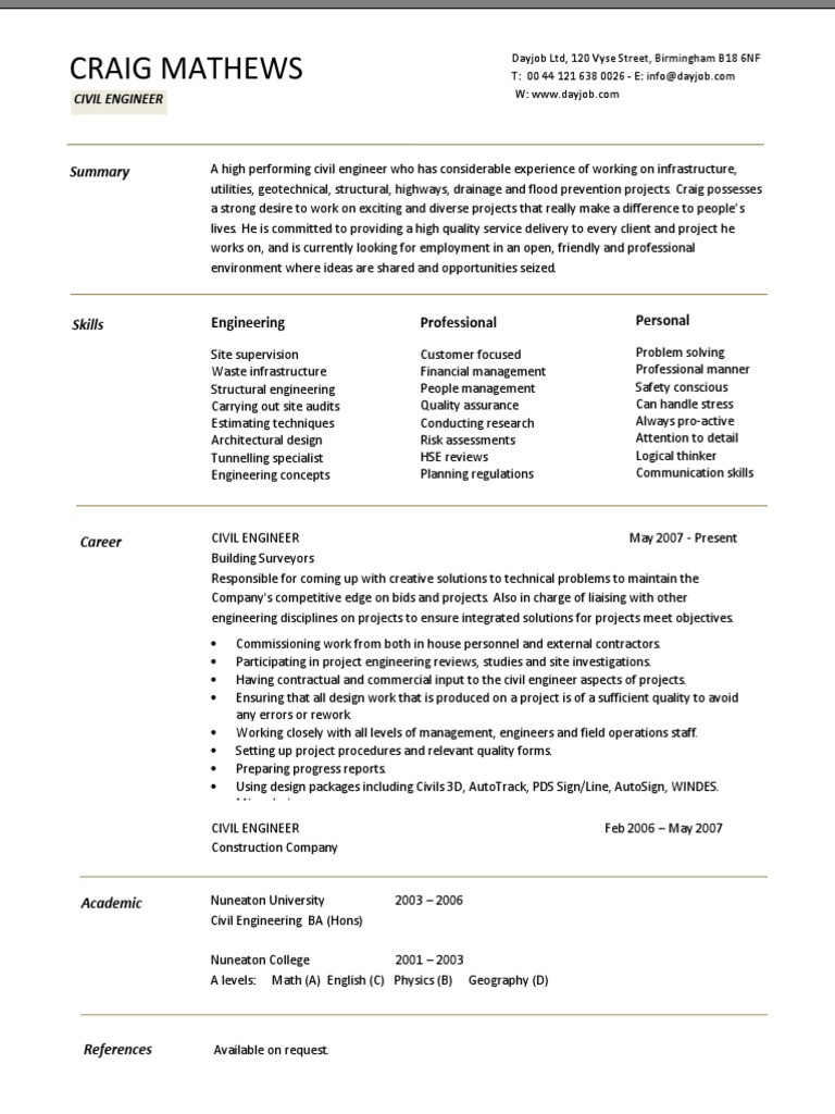 cv example engineer civil