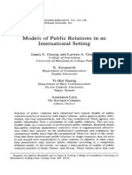 Models of Public Relations in an International Setting