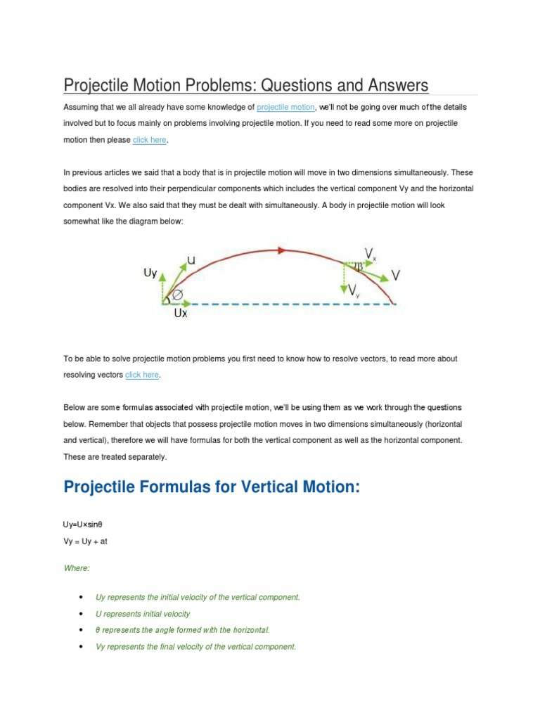 Projectile motion problems euclidean vector velocity ccuart Image collections