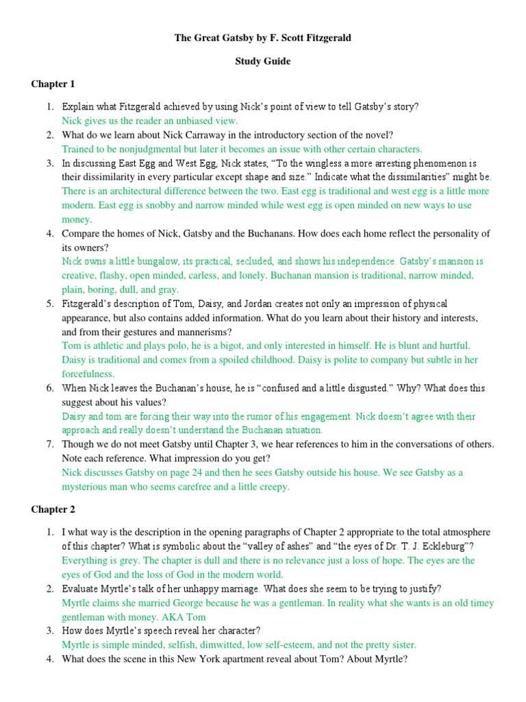 great gatsby essay questions answers The great gatsby final test worth 100 short essay response: the great gatsby questions & answers (chapter 1-5) gatsby study questions and answers.