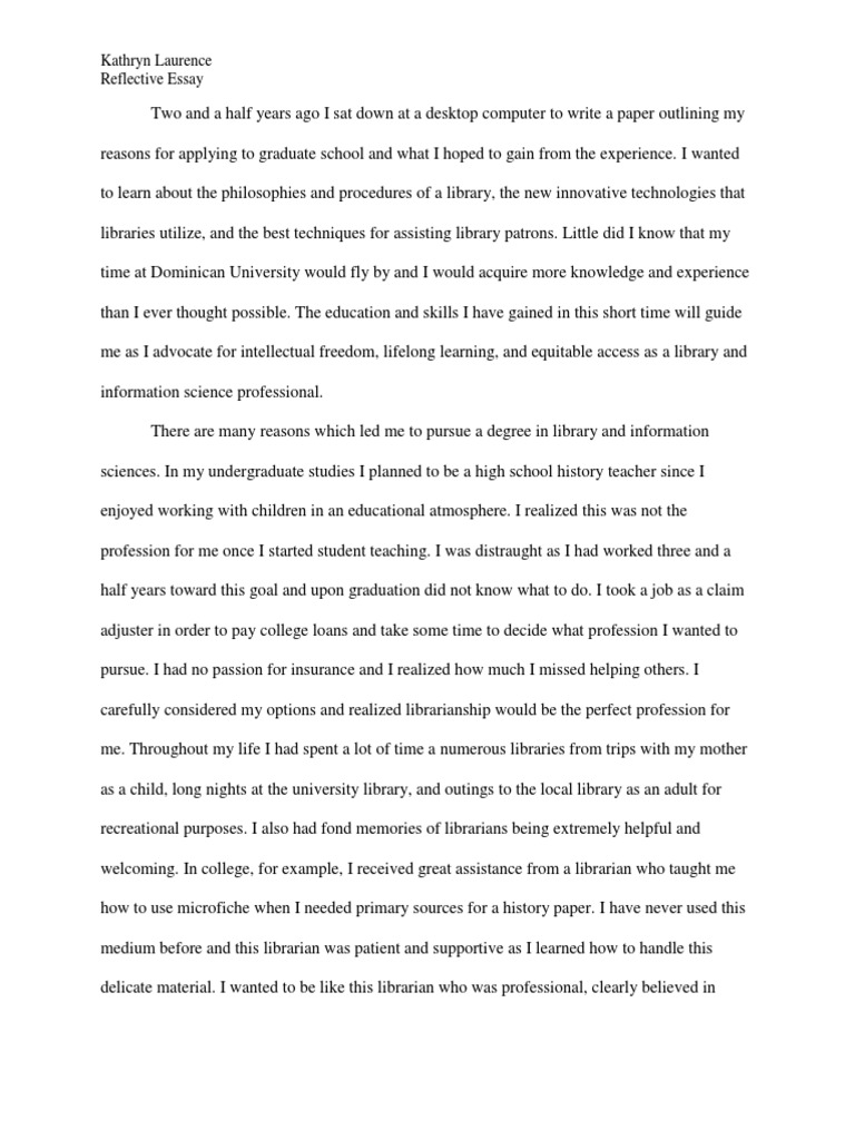 Cause And Effect Essay Thesis  Writing A Proposal Essay also Political Science Essay Topics Reflective Essay  Kathryn Laurence  Library Science  Librarian Essays On Health Care