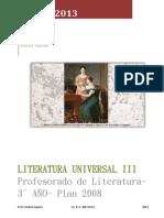 Programa analítico Literatura universal III 2013