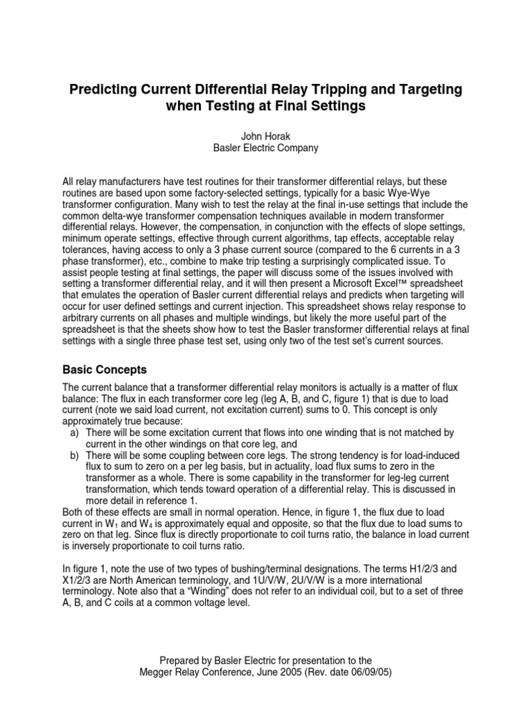 Predicting Current Differential Relay Tripping And Targeting When Common Terminal In Testing At Final Settings Transformer
