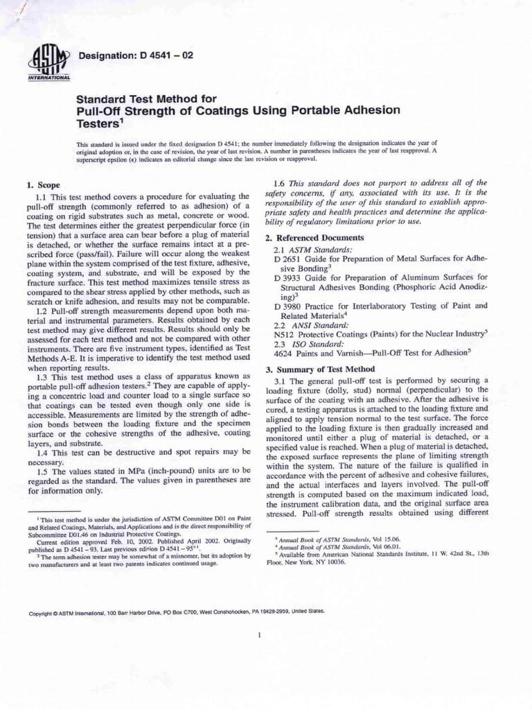 astm d4541 02 pull off test standard