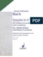 BACH Johann Sebastian Sonata in F for Alto Recorder Continuo