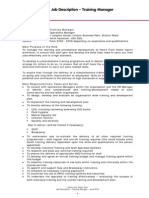 Job Description Training Manager June 2010